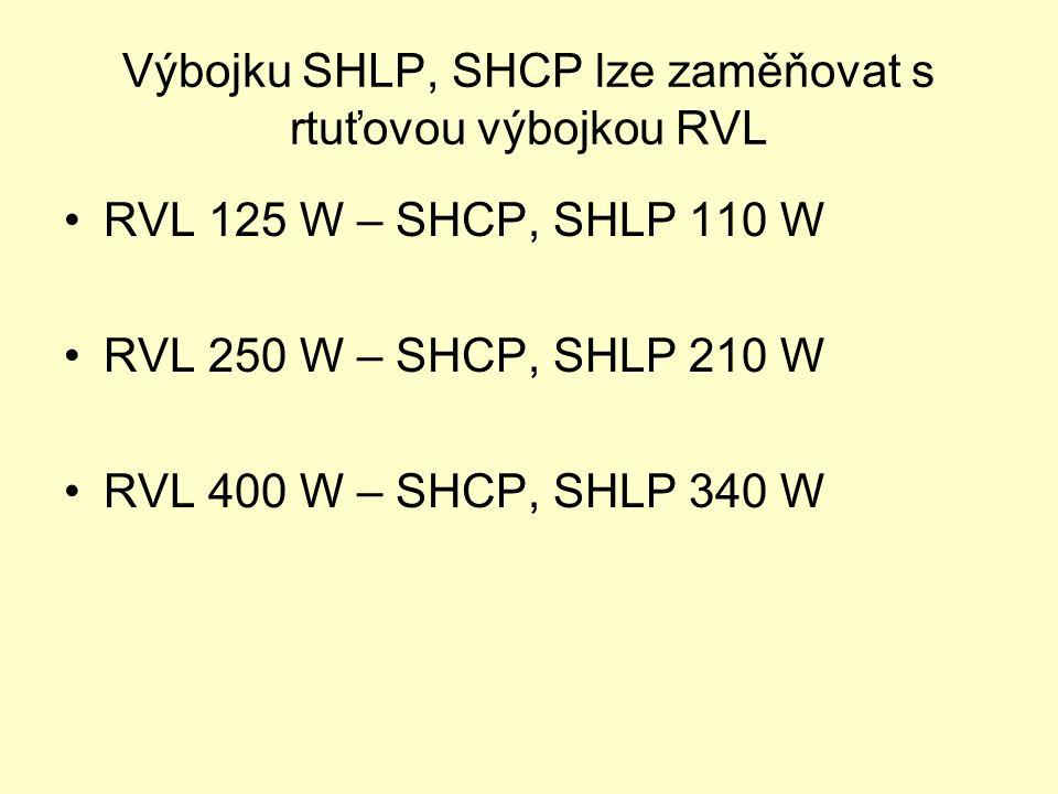 Výbojku SHLP, SHCP lze zaměňovat s rtuťovou výbojkou RVL RVL 125 W – SHCP, SHLP 110 W RVL 250 W – SHCP, SHLP 210 W RVL 400 W – SHCP, SHLP 340 W