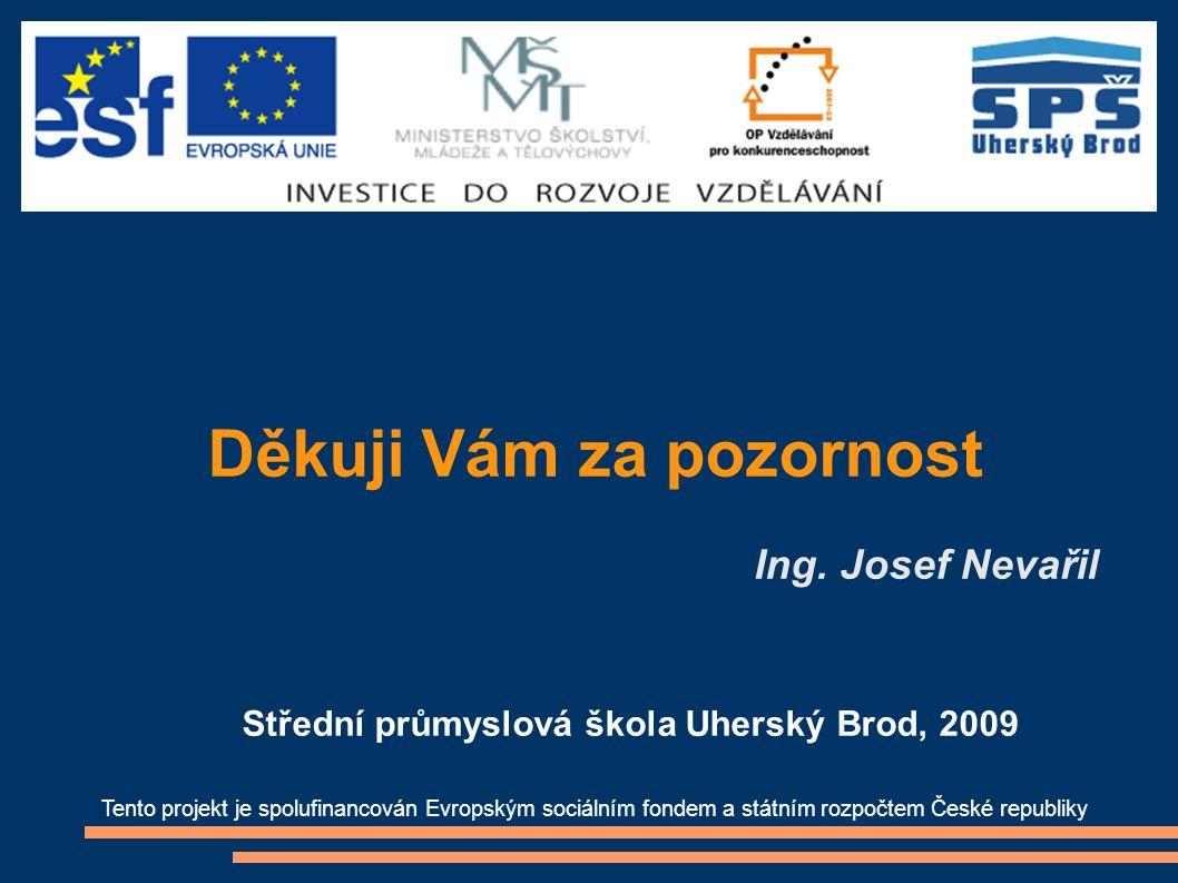 Děkuji Vám za pozornost Ing. Josef Nevařil Tento projekt je spolufinancován Evropským sociálním fondem a státním rozpočtem České republiky Střední prů
