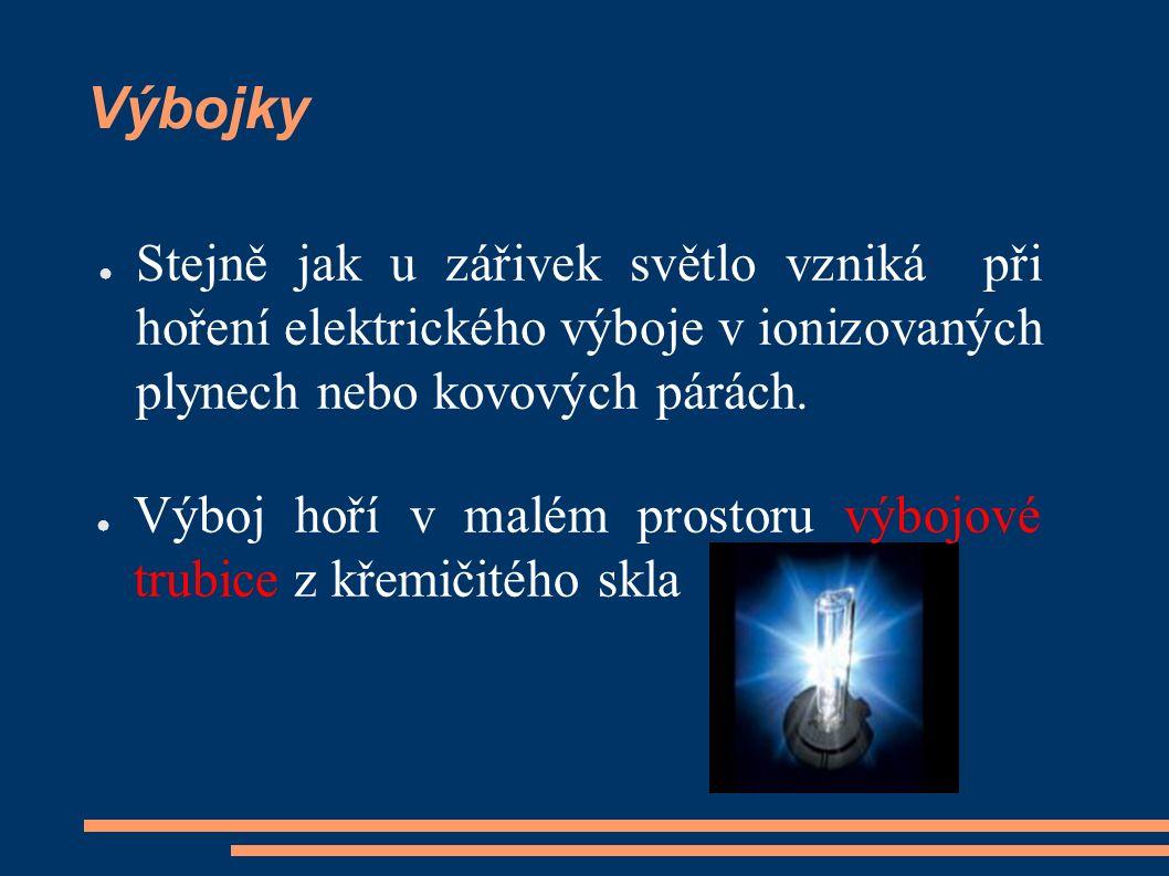 Výbojky ● Stejně jak u zářivek světlo vzniká při hoření elektrického výboje v ionizovaných plynech nebo kovových párách. ● Výboj hoří v malém prostoru
