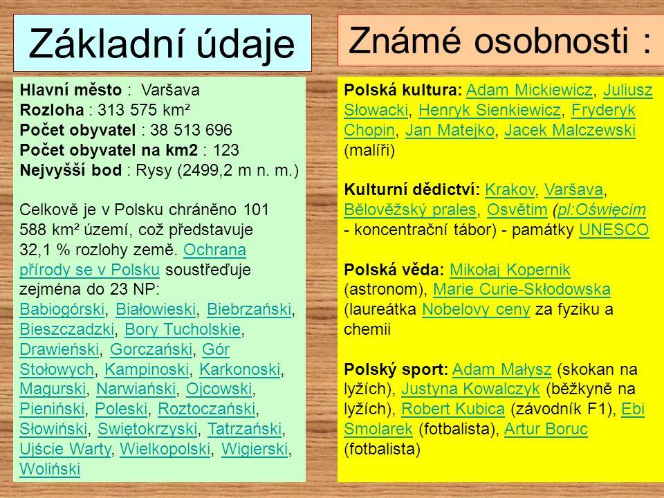 Základní údaje Hlavní město : Varšava Rozloha : 313 575 km² Počet obyvatel : 38 513 696 Počet obyvatel na km2 : 123 Nejvyšší bod : Rysy (2499,2 m n. m