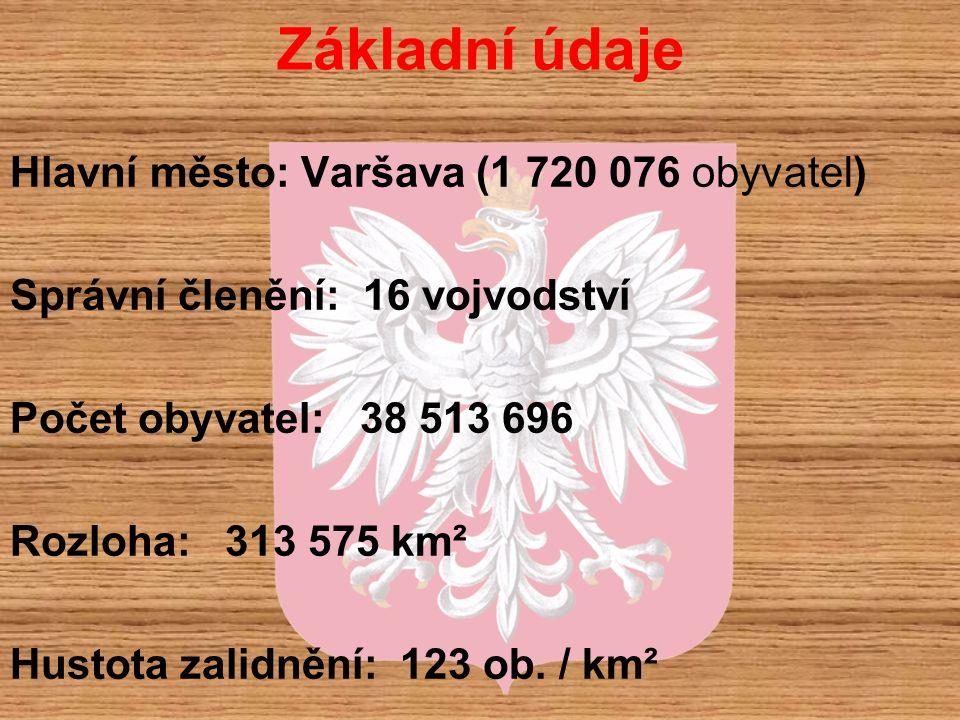 Základní údaje Hlavní město: Varšava (1 720 076 obyvatel) Správní členění: 16 vojvodství Počet obyvatel: 38 513 696 Rozloha: 313 575 km² Hustota zalid