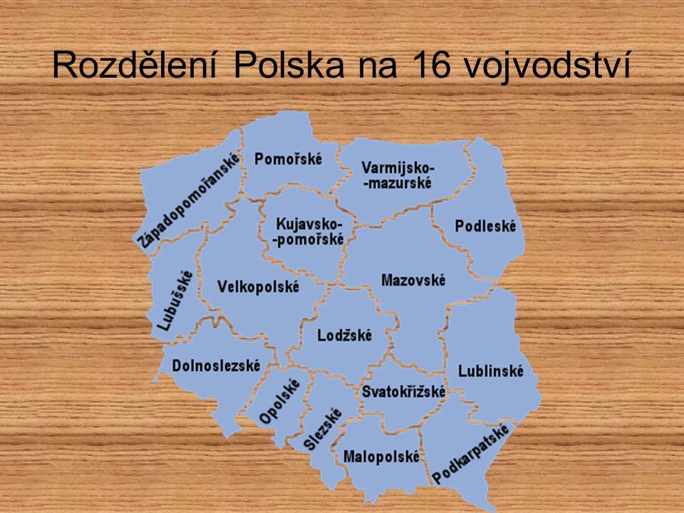 Rozdělení Polska na 16 vojvodství