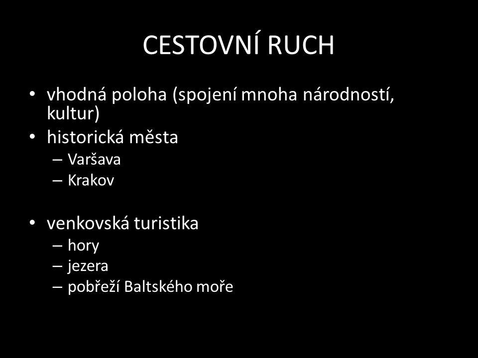 CESTOVNÍ RUCH vhodná poloha (spojení mnoha národností, kultur) historická města – Varšava – Krakov venkovská turistika – hory – jezera – pobřeží Baltského moře
