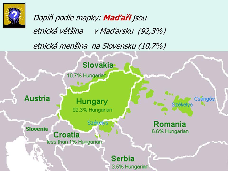 Doplň podle mapky: Maďaři jsou etnická většina etnická menšina v Maďarsku (92,3%) na Slovensku (10,7%)