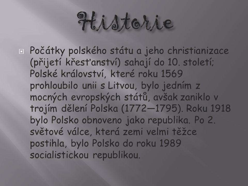  Počátky polského státu a jeho christianizace (přijetí křesťanství) sahají do 10.