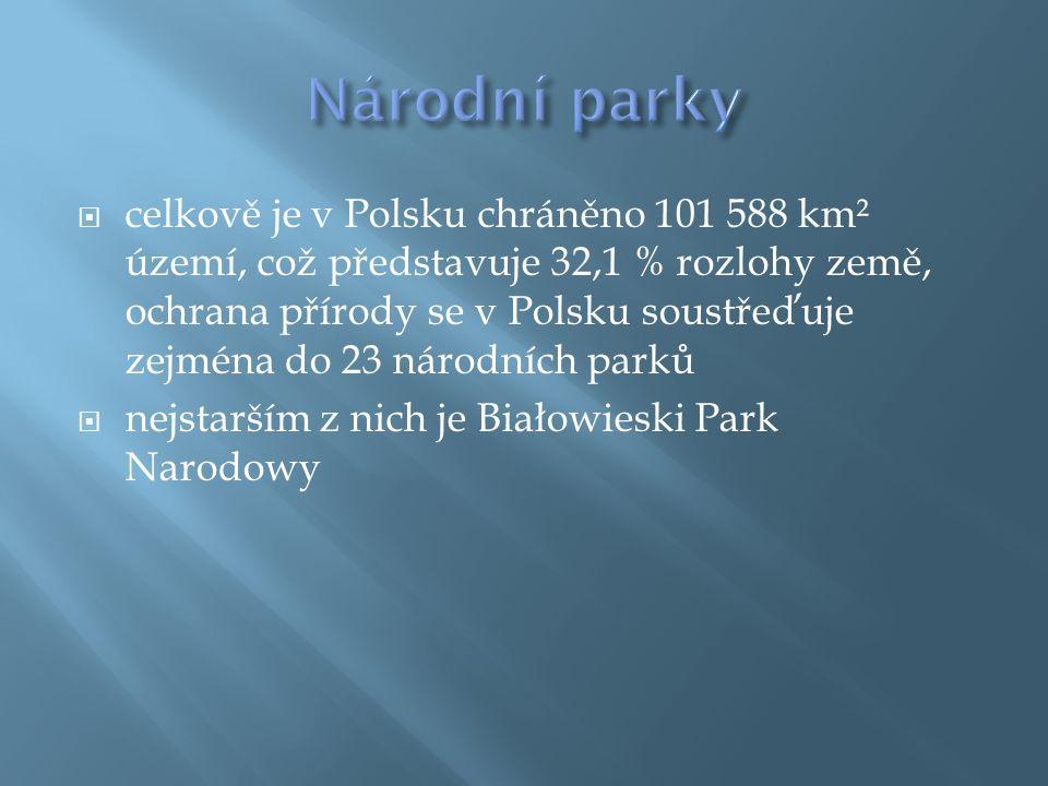  celkově je v Polsku chráněno 101 588 km² území, což představuje 32,1 % rozlohy země, ochrana přírody se v Polsku soustřeďuje zejména do 23 národních parků  nejstarším z nich je Białowieski Park Narodowy