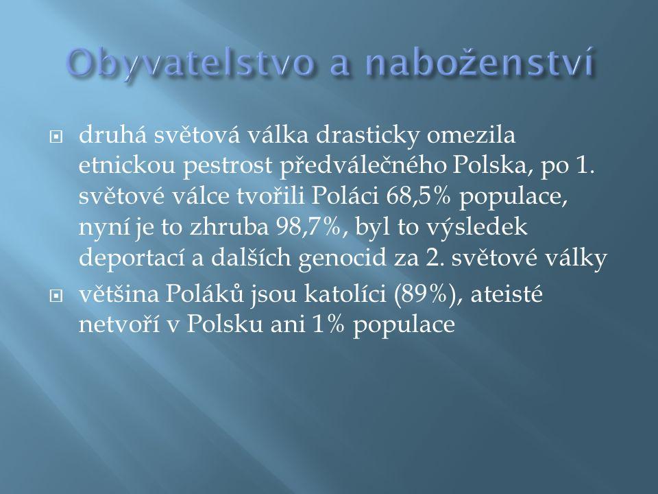  druhá světová válka drasticky omezila etnickou pestrost předválečného Polska, po 1.
