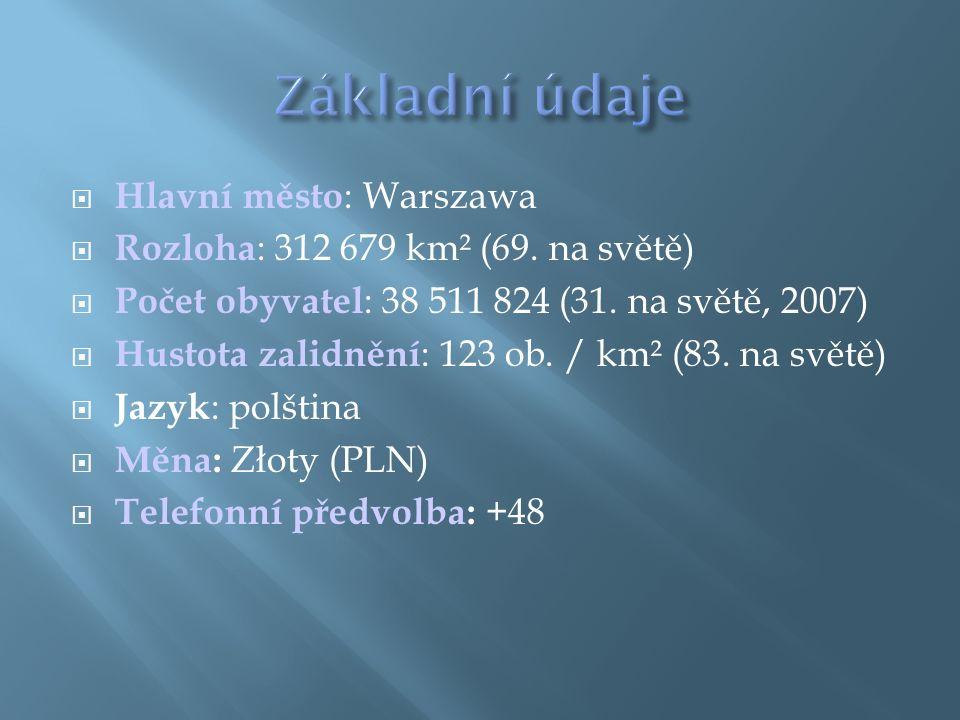  Hlavní město : Warszawa  Rozloha : 312 679 km² (69.