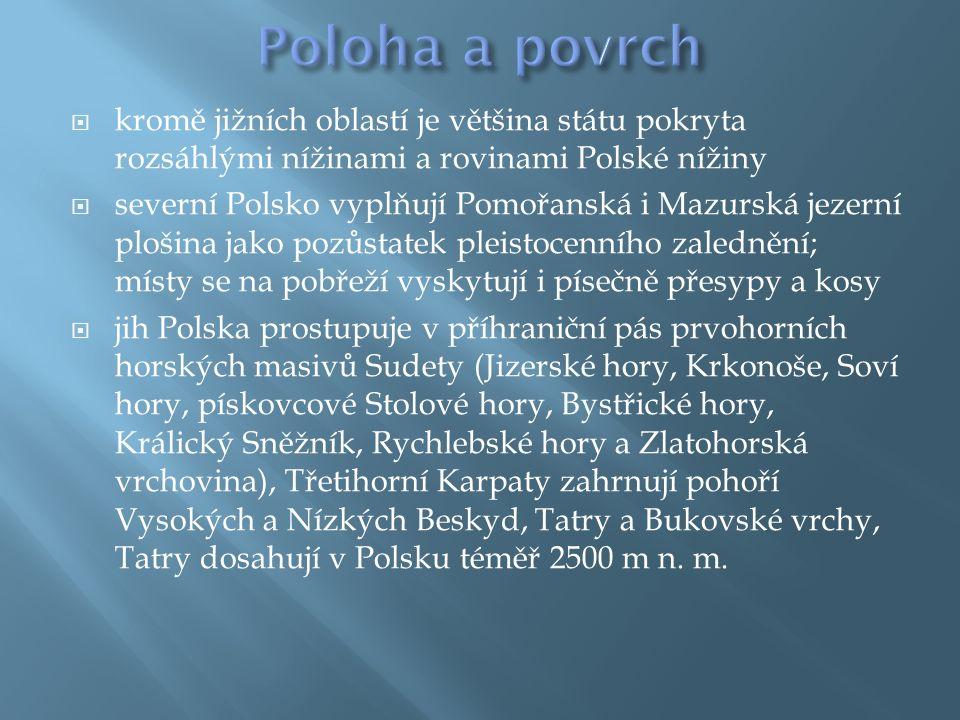  kromě jižních oblastí je většina státu pokryta rozsáhlými nížinami a rovinami Polské nížiny  severní Polsko vyplňují Pomořanská i Mazurská jezerní plošina jako pozůstatek pleistocenního zalednění; místy se na pobřeží vyskytují i písečně přesypy a kosy  jih Polska prostupuje v příhraniční pás prvohorních horských masivů Sudety (Jizerské hory, Krkonoše, Soví hory, pískovcové Stolové hory, Bystřické hory, Králický Sněžník, Rychlebské hory a Zlatohorská vrchovina), Třetihorní Karpaty zahrnují pohoří Vysokých a Nízkých Beskyd, Tatry a Bukovské vrchy, Tatry dosahují v Polsku téměř 2500 m n.
