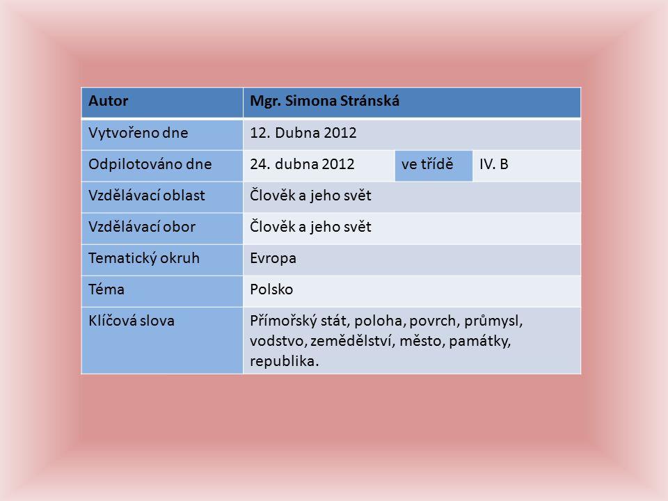 AutorMgr. Simona Stránská Vytvořeno dne12. Dubna 2012 Odpilotováno dne24.