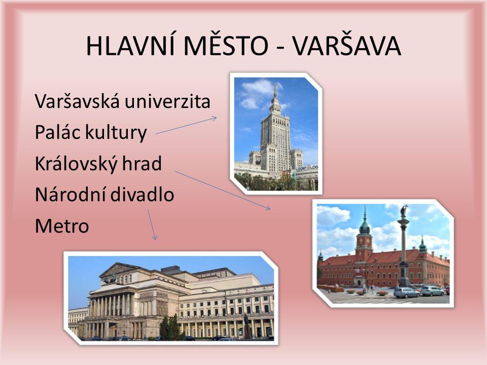 HLAVNÍ MĚSTO - VARŠAVA Varšavská univerzita Palác kultury Královský hrad Národní divadlo Metro