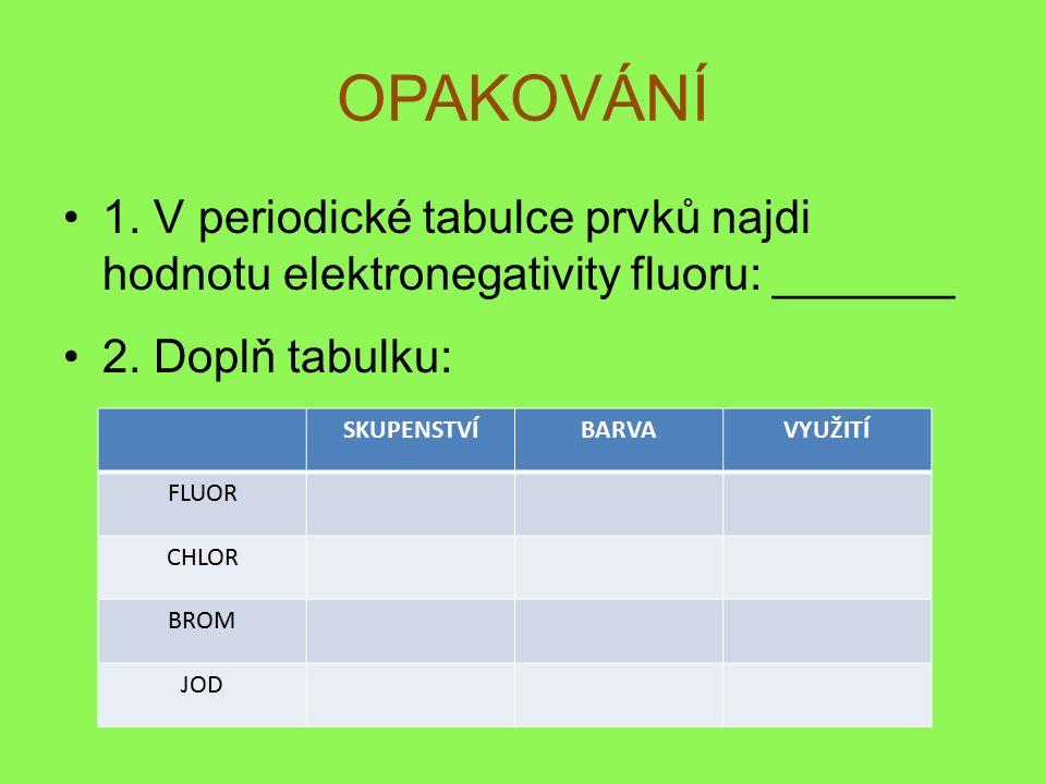 OPAKOVÁNÍ 1. V periodické tabulce prvků najdi hodnotu elektronegativity fluoru: _______ 2.
