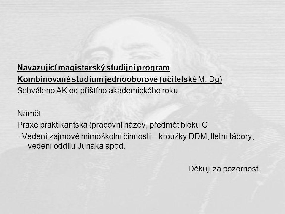 Navazující magisterský studijní program Kombinované studium jednooborové (učitelské M, Dg) Schváleno AK od příštího akademického roku. Námět: Praxe pr