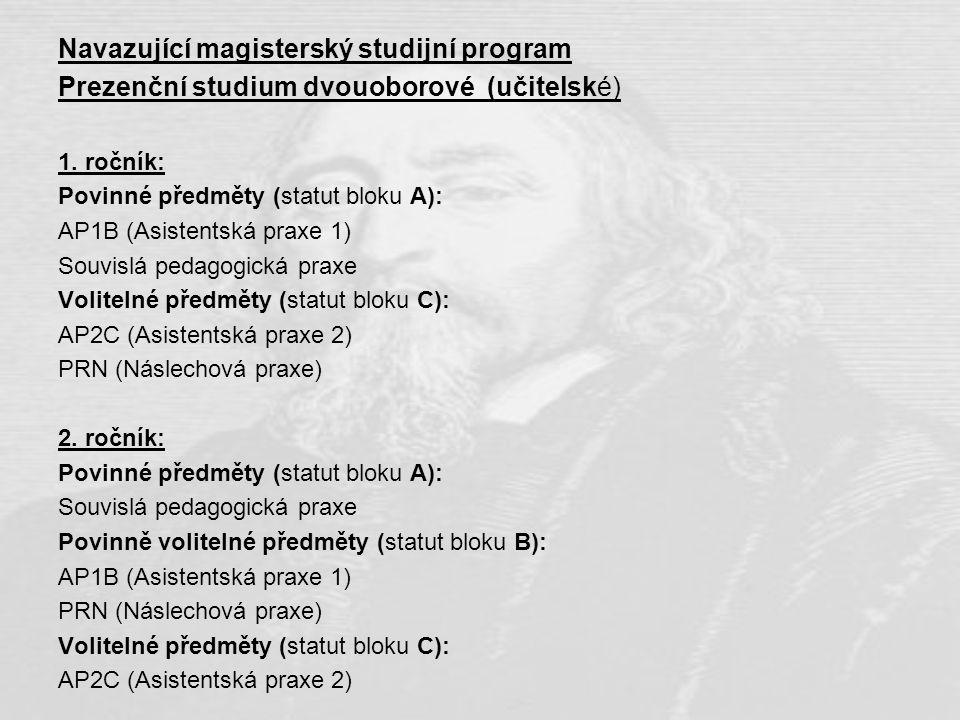 Navazující magisterský studijní program Prezenční studium dvouoborové (učitelské) 1. ročník: Povinné předměty (statut bloku A): AP1B (Asistentská prax
