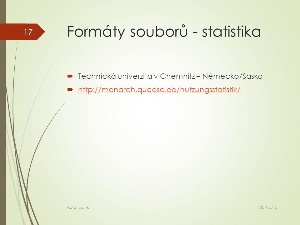 Formáty souborů - statistika  Technická univerzita v Chemnitz – Německo/Sasko  http://monarch.qucosa.de/nutzungsstatistik/ http://monarch.qucosa.de/nutzungsstatistik/ 30.9.2015 4iz421 opink 17
