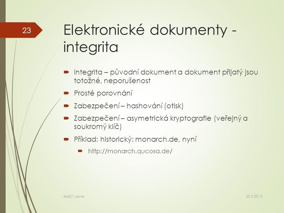 Elektronické dokumenty - integrita  Integrita – původní dokument a dokument přijatý jsou totožné, neporušenost  Prosté porovnání  Zabezpečení – hashování (otisk)  Zabezpečení – asymetrická kryptografie (veřejný a soukromý klíč)  Příklad: historický: monarch.de, nyní  http://monarch.qucosa.de/ 30.9.2015 4iz421 opink 23