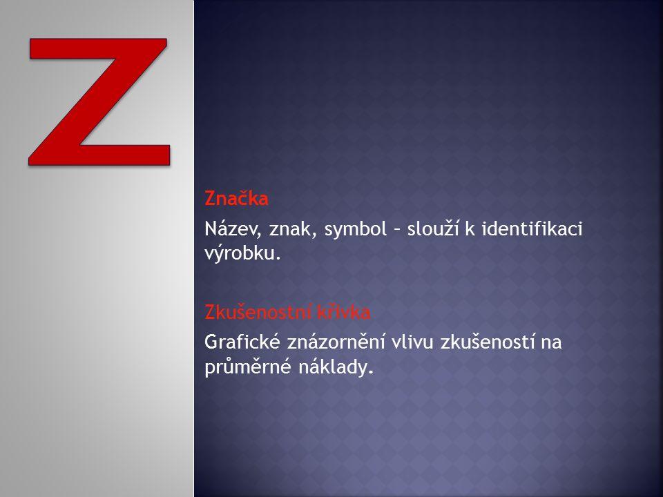 Značka Název, znak, symbol – slouží k identifikaci výrobku.