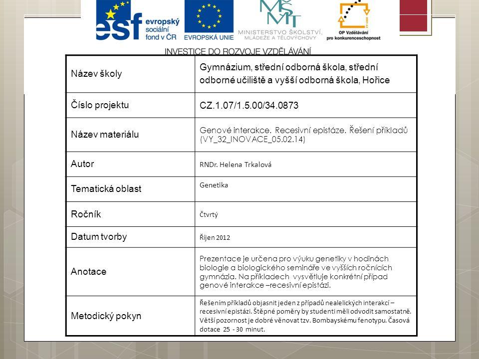 Název školy Gymnázium, střední odborná škola, střední odborné učiliště a vyšší odborná škola, Hořice Číslo projektu CZ.1.07/1.5.00/34.0873 Název materiálu Genové interakce.