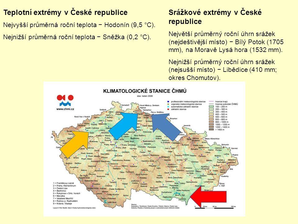 Teplotní extrémy v České republice Nejvyšší průměrná roční teplota − Hodonín (9,5 °C).