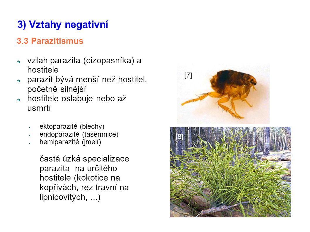 3.3 Parazitismus  vztah parazita (cizopasníka) a hostitele  parazit bývá menší než hostitel, početně silnější  hostitele oslabuje nebo až usmrtí 