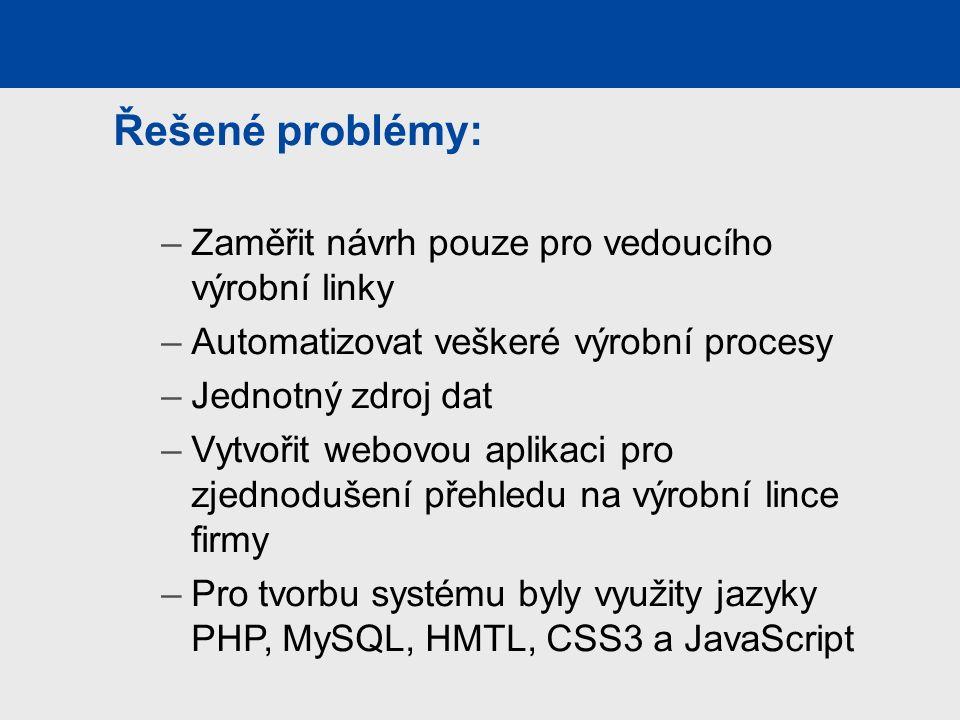 Řešené problémy: –Zaměřit návrh pouze pro vedoucího výrobní linky –Automatizovat veškeré výrobní procesy –Jednotný zdroj dat –Vytvořit webovou aplikaci pro zjednodušení přehledu na výrobní lince firmy –Pro tvorbu systému byly využity jazyky PHP, MySQL, HMTL, CSS3 a JavaScript