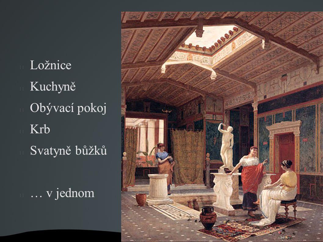 Ložnice Kuchyně Obývací pokoj Krb Svatyně bůžků … v jednom