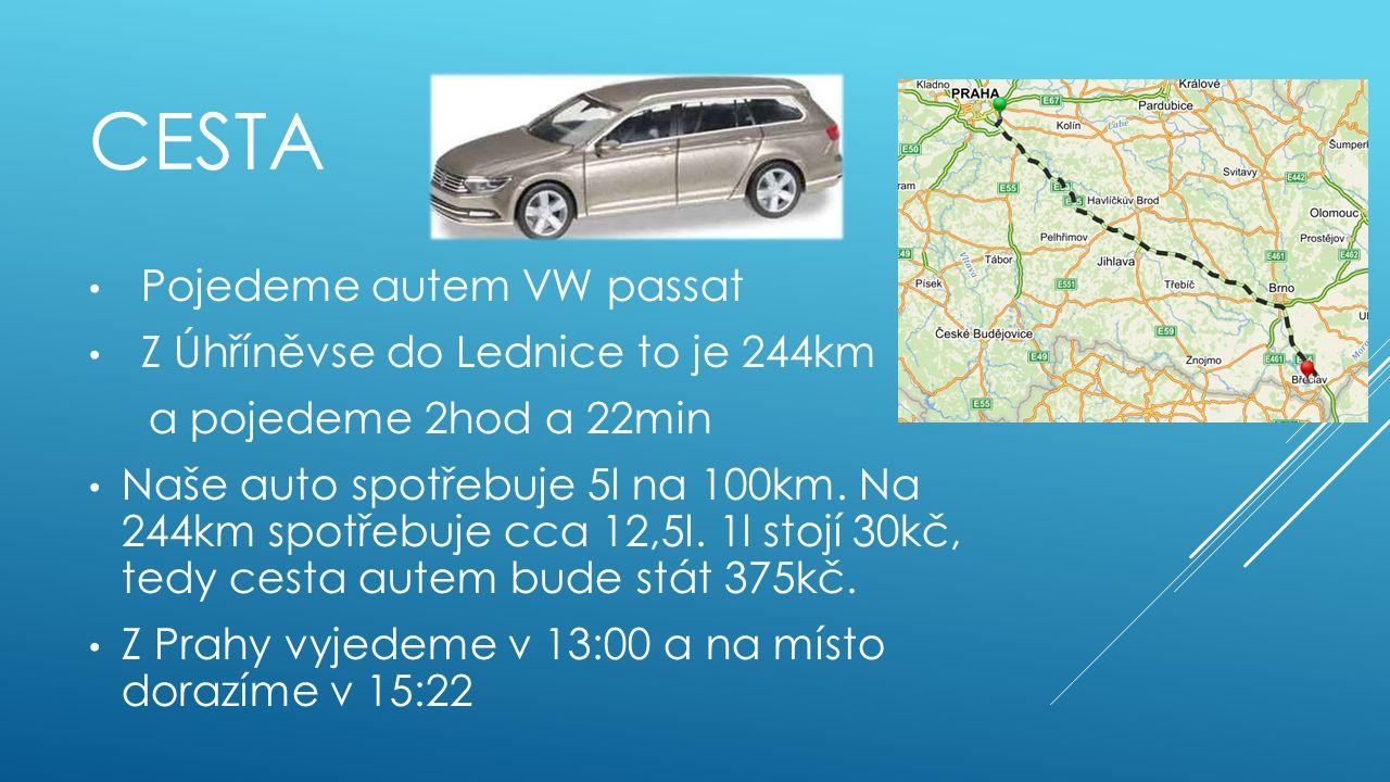CESTA Pojedeme autem VW passat Z Úhříněvse do Lednice to je 244km a pojedeme 2hod a 22min Naše auto spotřebuje 5l na 100km. Na 244km spotřebuje cca 12