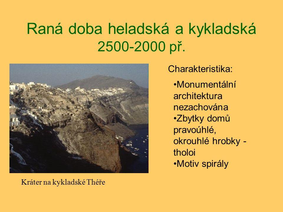 Raná doba heladská a kykladská 2500-2000 př. Charakteristika: Kráter na kykladské Théře Monumentální architektura nezachována Zbytky domů pravoúhlé, o