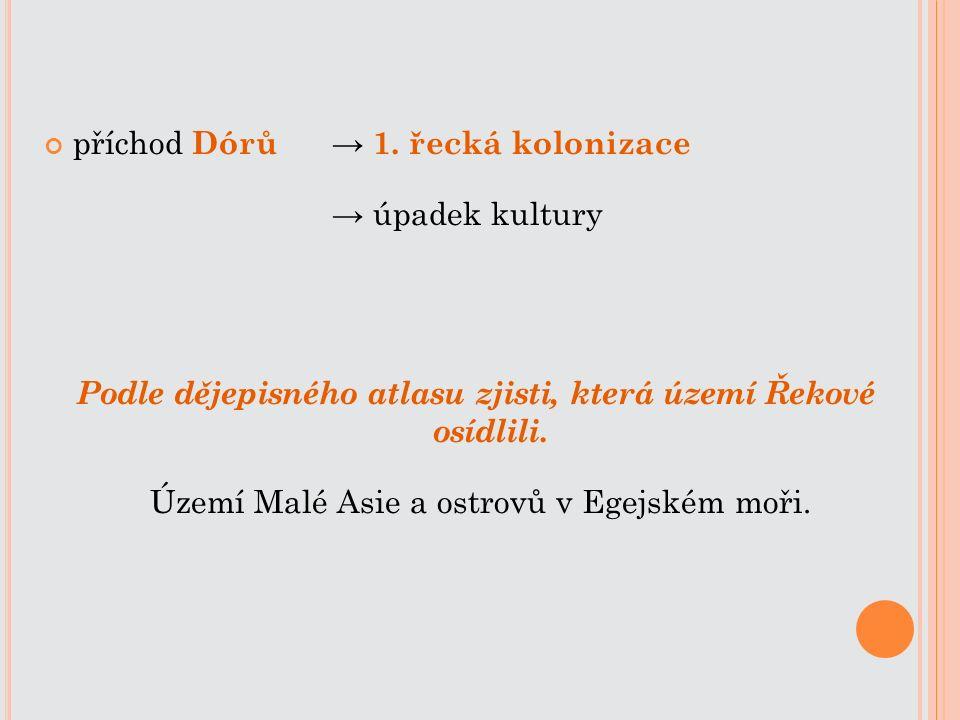 příchod Dórů → 1. řecká kolonizace → úpadek kultury Podle dějepisného atlasu zjisti, která území Řekové osídlili. Území Malé Asie a ostrovů v Egejském