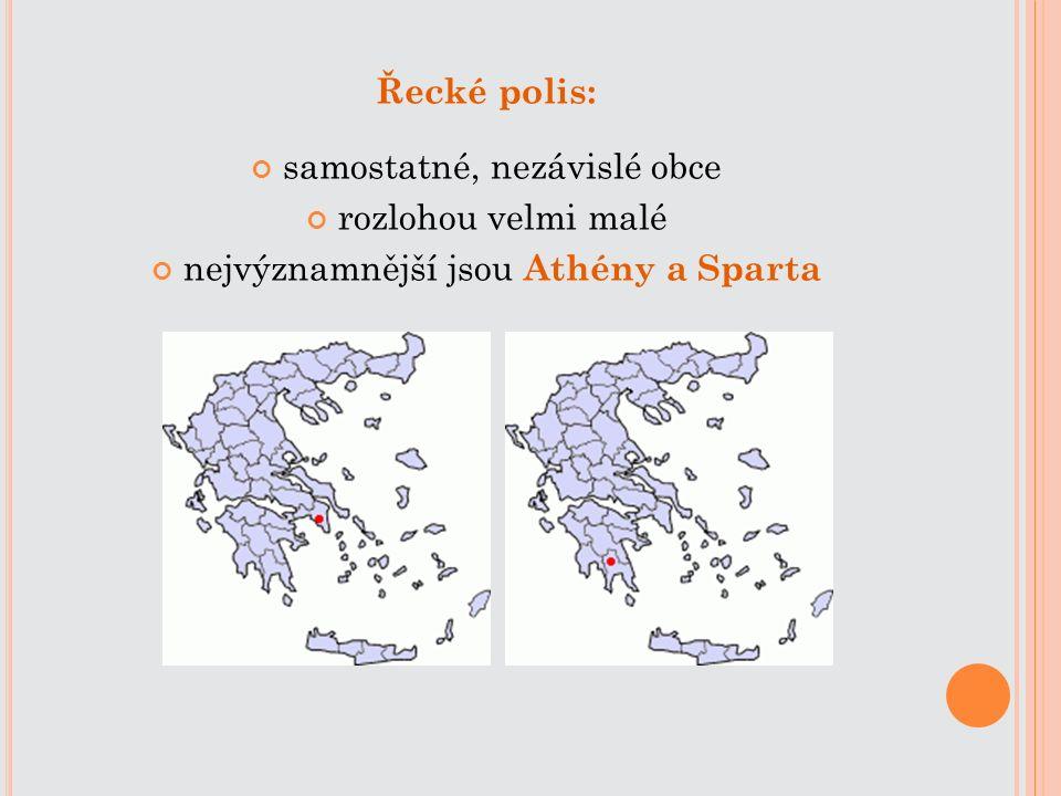 Řecké polis: samostatné, nezávislé obce rozlohou velmi malé nejvýznamnější jsou Athény a Sparta