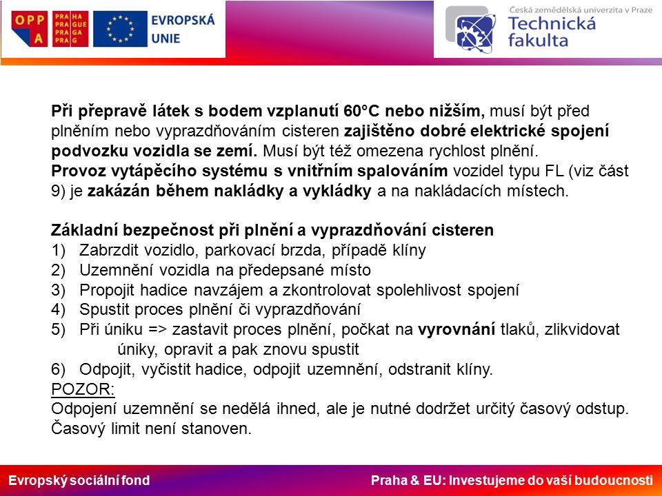 Evropský sociální fond Praha & EU: Investujeme do vaší budoucnosti Při přepravě látek s bodem vzplanutí 60°C nebo nižším, musí být před plněním nebo vyprazdňováním cisteren zajištěno dobré elektrické spojení podvozku vozidla se zemí.