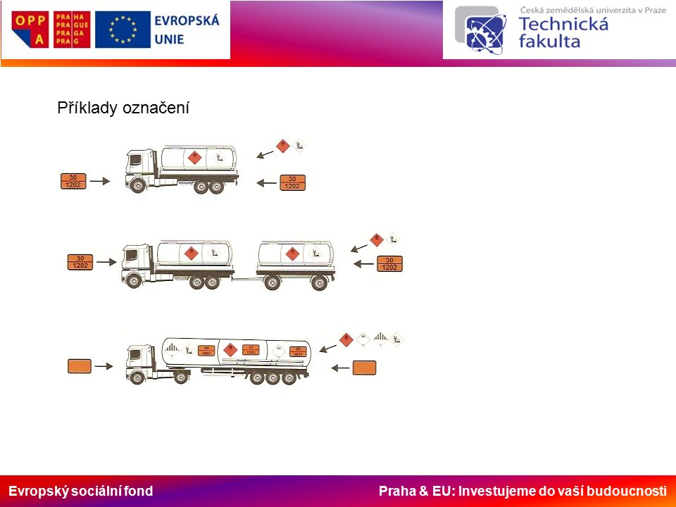 Evropský sociální fond Praha & EU: Investujeme do vaší budoucnosti Příklady označení
