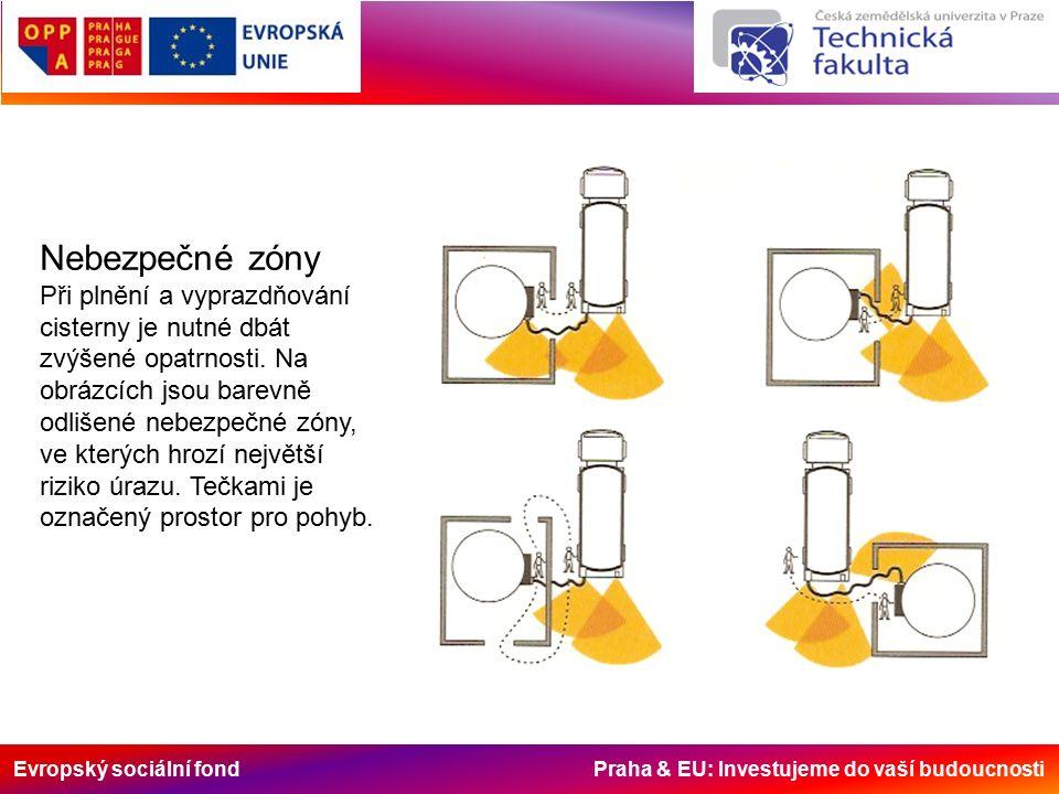 Evropský sociální fond Praha & EU: Investujeme do vaší budoucnosti Nebezpečné zóny Při plnění a vyprazdňování cisterny je nutné dbát zvýšené opatrnosti.