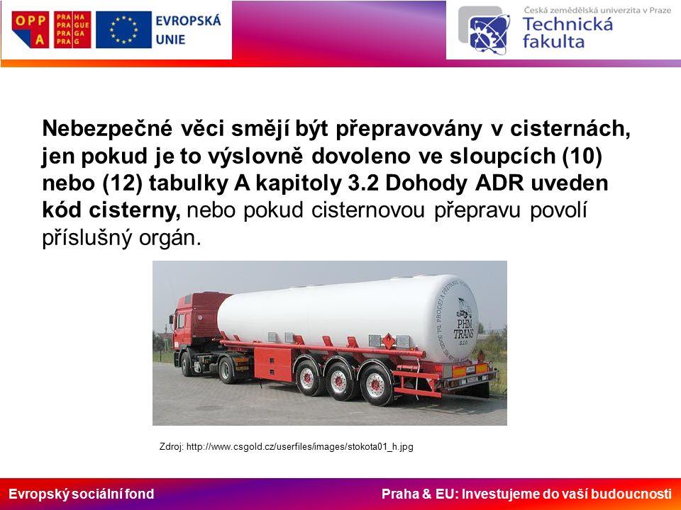Evropský sociální fond Praha & EU: Investujeme do vaší budoucnosti Nebezpečné věci smějí být přepravovány v cisternách, jen pokud je to výslovně dovoleno ve sloupcích (10) nebo (12) tabulky A kapitoly 3.2 Dohody ADR uveden kód cisterny, nebo pokud cisternovou přepravu povolí příslušný orgán.