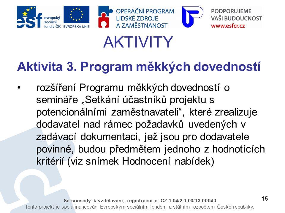 15 Se sousedy k vzdělávání, registrační č. CZ.1.04/2.1.00/13.00043 Tento projekt je spolufinancován Evropským sociálním fondem a státním rozpočtem Čes