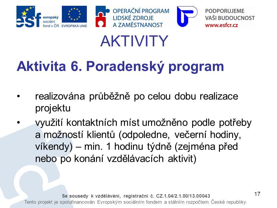 17 Se sousedy k vzdělávání, registrační č. CZ.1.04/2.1.00/13.00043 Tento projekt je spolufinancován Evropským sociálním fondem a státním rozpočtem Čes