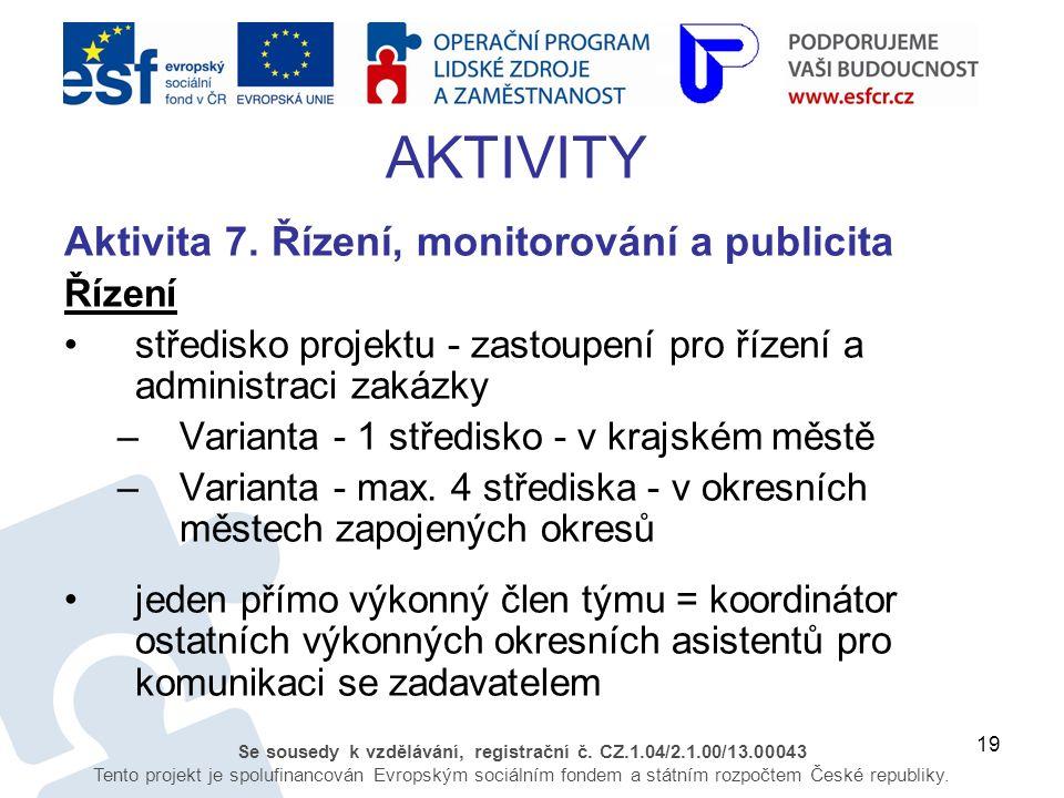 19 Se sousedy k vzdělávání, registrační č. CZ.1.04/2.1.00/13.00043 Tento projekt je spolufinancován Evropským sociálním fondem a státním rozpočtem Čes