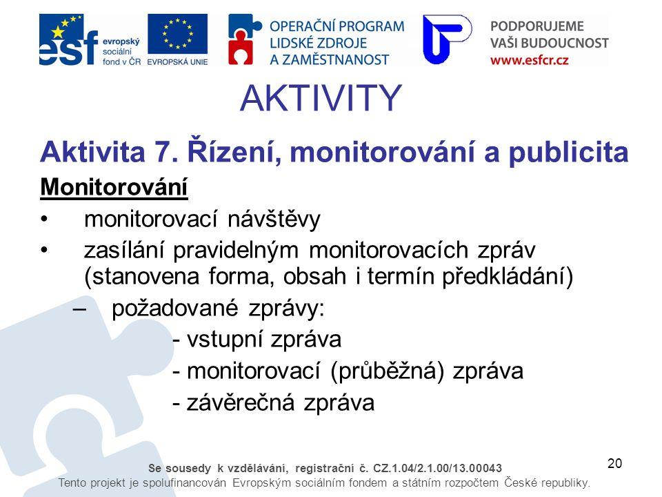 20 Se sousedy k vzdělávání, registrační č. CZ.1.04/2.1.00/13.00043 Tento projekt je spolufinancován Evropským sociálním fondem a státním rozpočtem Čes