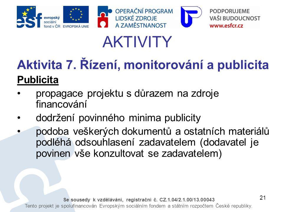 21 Se sousedy k vzdělávání, registrační č. CZ.1.04/2.1.00/13.00043 Tento projekt je spolufinancován Evropským sociálním fondem a státním rozpočtem Čes