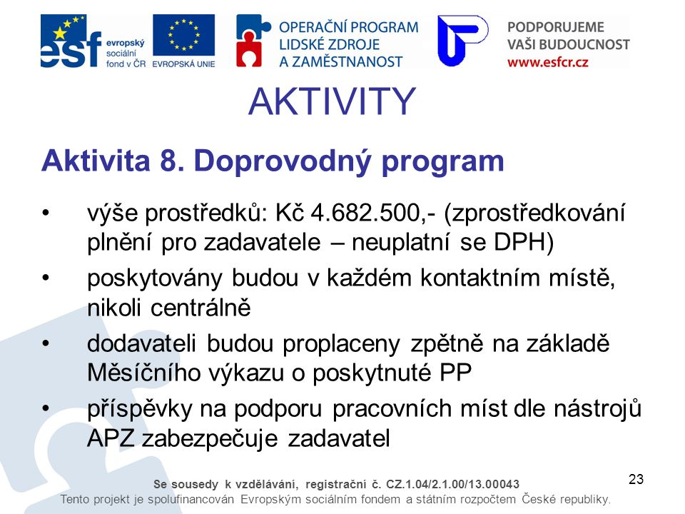 23 Se sousedy k vzdělávání, registrační č. CZ.1.04/2.1.00/13.00043 Tento projekt je spolufinancován Evropským sociálním fondem a státním rozpočtem Čes