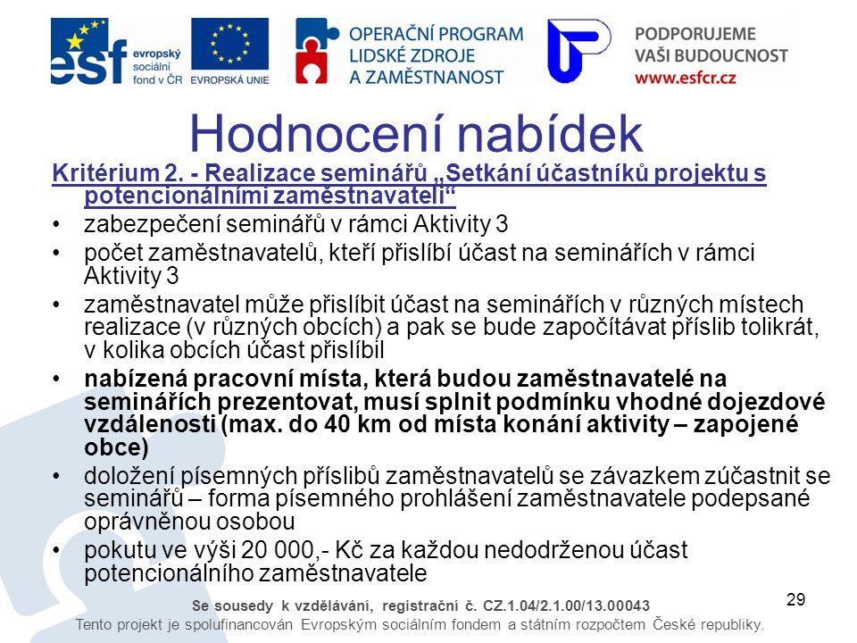 29 Se sousedy k vzdělávání, registrační č. CZ.1.04/2.1.00/13.00043 Tento projekt je spolufinancován Evropským sociálním fondem a státním rozpočtem Čes