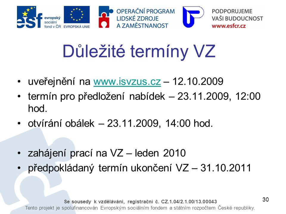 30 Se sousedy k vzdělávání, registrační č. CZ.1.04/2.1.00/13.00043 Tento projekt je spolufinancován Evropským sociálním fondem a státním rozpočtem Čes