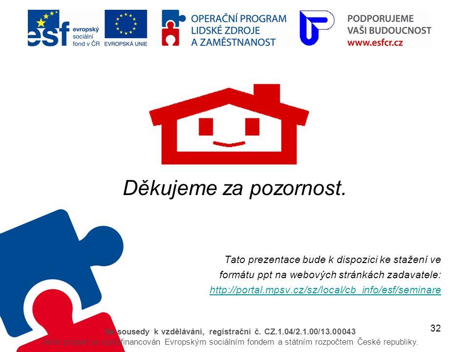 32 Se sousedy k vzdělávání, registrační č. CZ.1.04/2.1.00/13.00043 Tento projekt je spolufinancován Evropským sociálním fondem a státním rozpočtem Čes