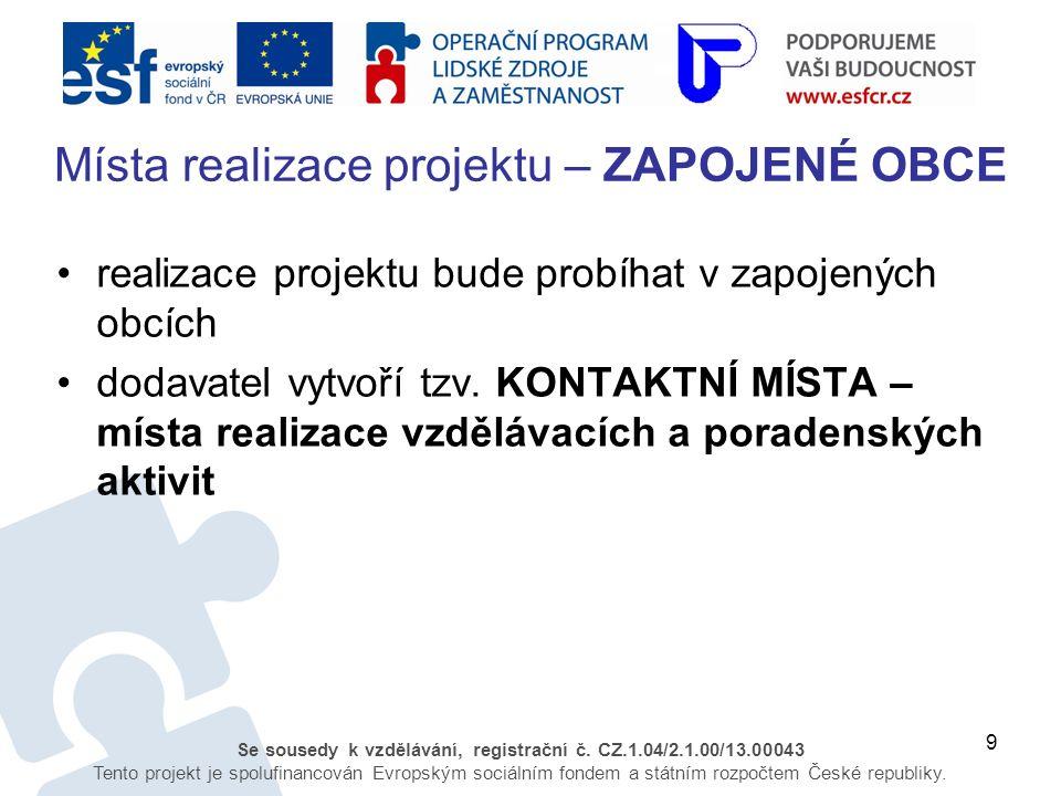 9 Se sousedy k vzdělávání, registrační č. CZ.1.04/2.1.00/13.00043 Tento projekt je spolufinancován Evropským sociálním fondem a státním rozpočtem Česk