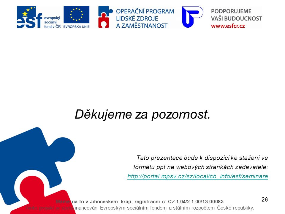 26 Máme na to v Jihočeském kraji, registrační č. CZ.1.04/2.1.00/13.00083 Tento projekt je spolufinancován Evropským sociálním fondem a státním rozpočt