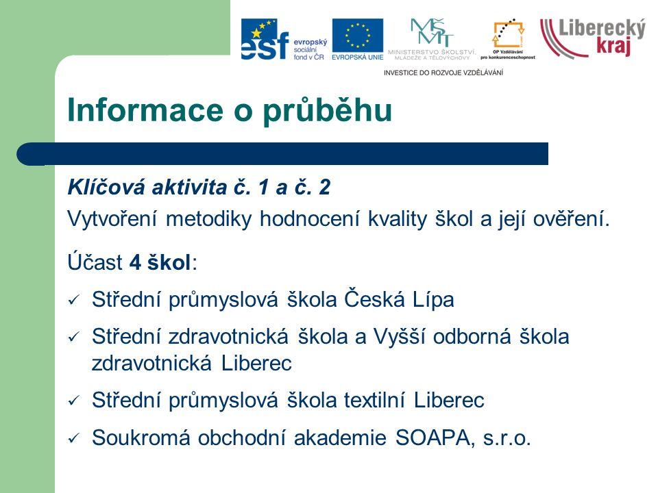 Informace o průběhu Klíčová aktivita č. 1 a č.