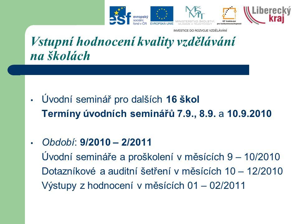 Vstupní hodnocení kvality vzdělávání na školách Úvodní seminář pro dalších 16 škol Termíny úvodních seminářů 7.9., 8.9.