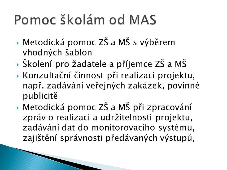  Metodická pomoc ZŠ a MŠ s výběrem vhodných šablon  Školení pro žadatele a příjemce ZŠ a MŠ  Konzultační činnost při realizaci projektu, např.