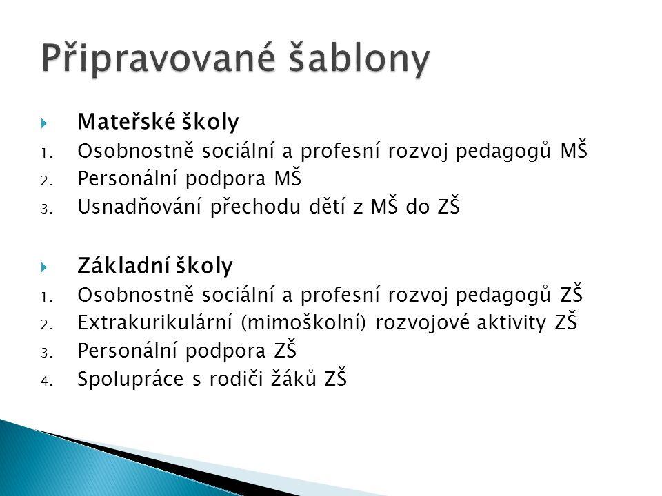  Mateřské školy 1. Osobnostně sociální a profesní rozvoj pedagogů MŠ 2.