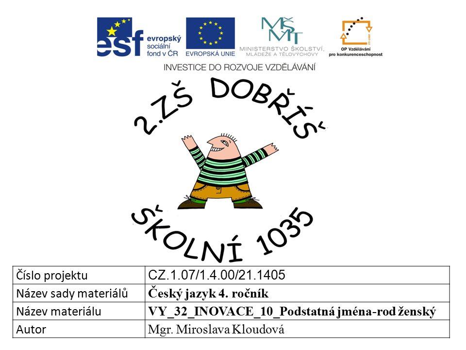 Číslo projektu CZ.1.07/1.4.00/21.1405 Název sady materiálů Český jazyk 4.